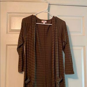 Lularoe Sarah large brown stripes NWOT